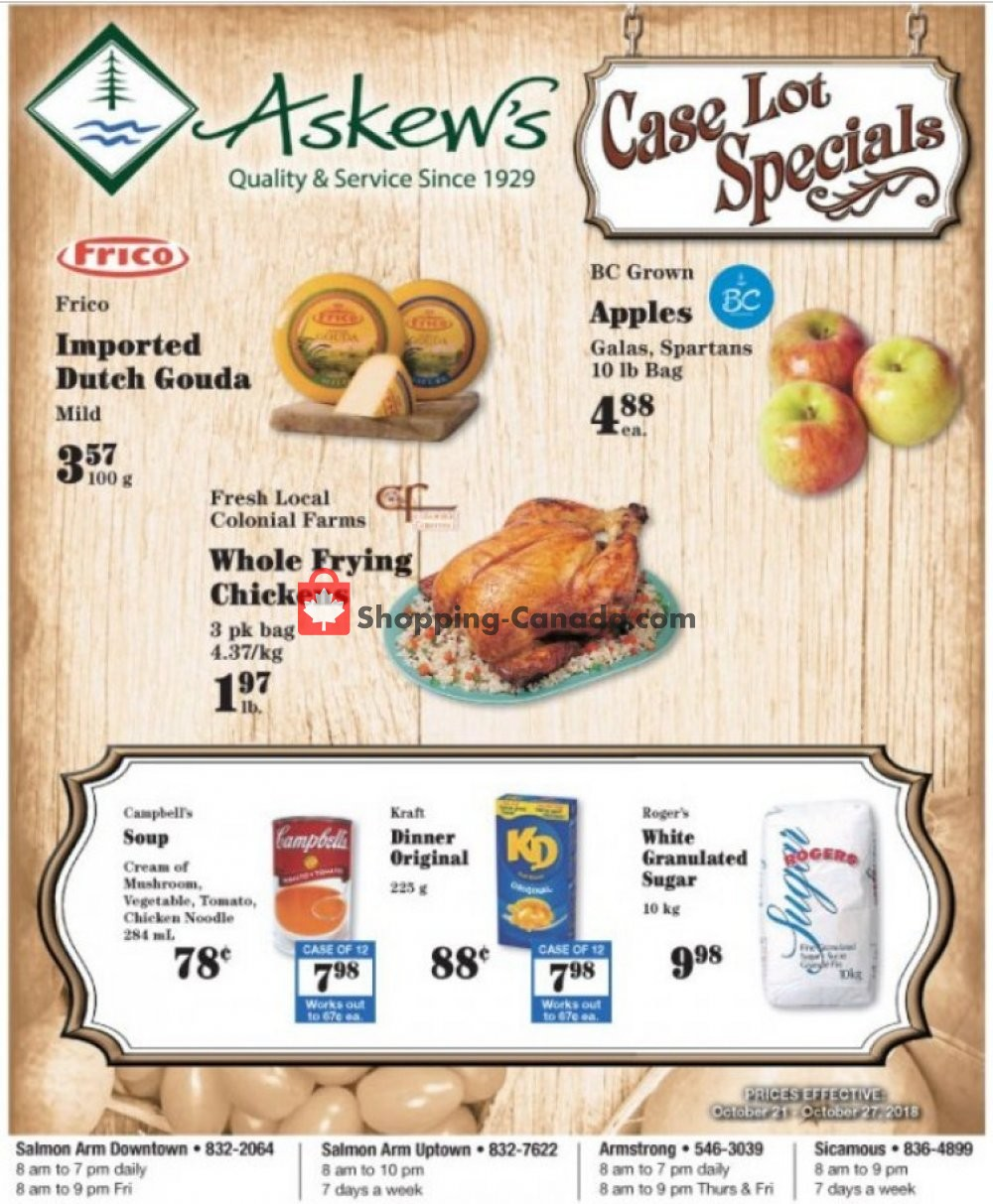 Flyer Askews Foods Canada - from Sunday October 21, 2018 to Saturday October 27, 2018