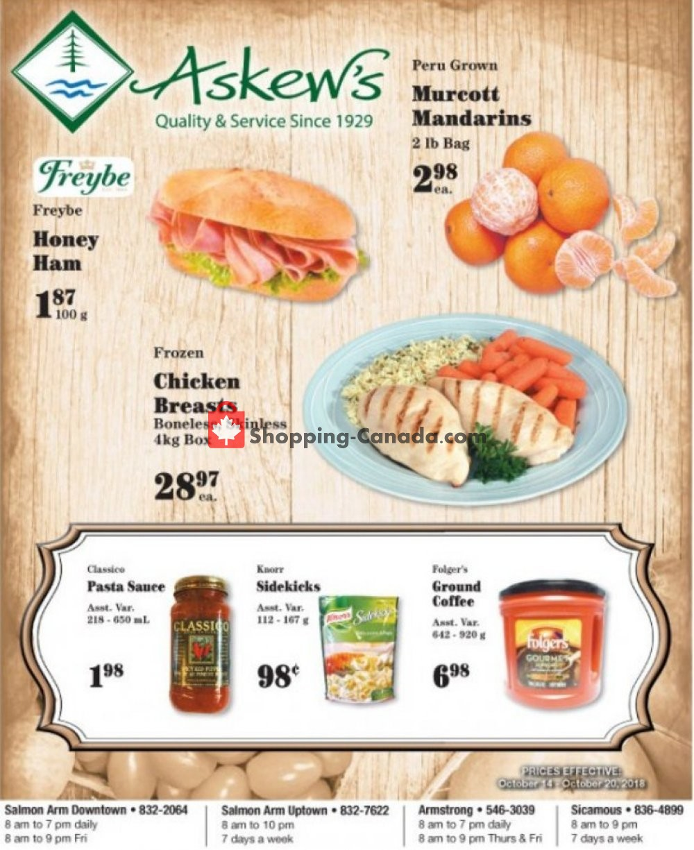 Flyer Askews Foods Canada - from Sunday October 14, 2018 to Saturday October 20, 2018