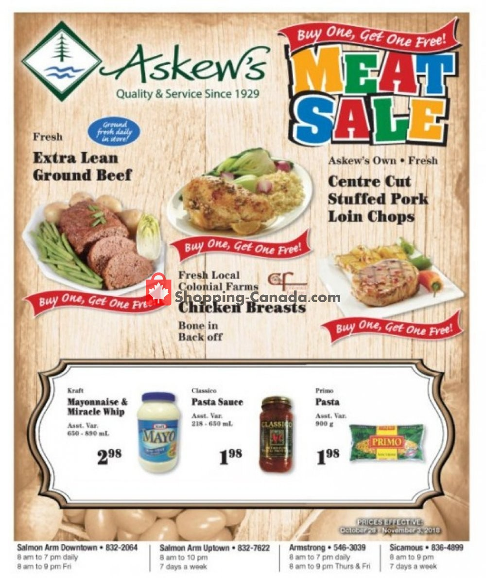 Flyer Askews Foods Canada - from Sunday October 28, 2018 to Saturday November 3, 2018