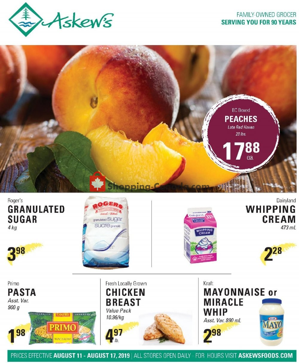 Flyer Askews Foods Canada - from Sunday August 11, 2019 to Saturday August 17, 2019