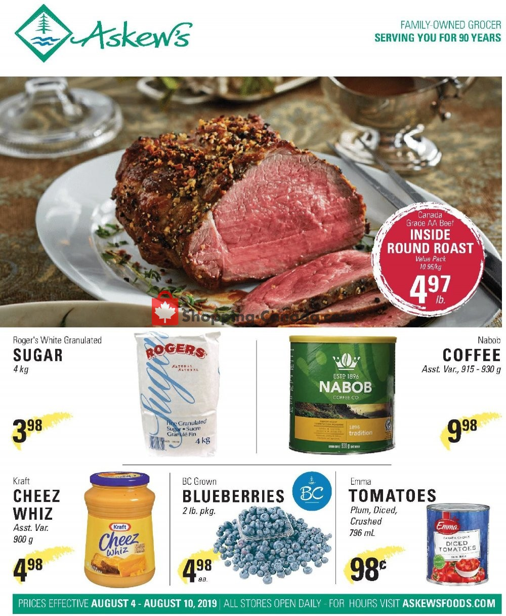 Flyer Askews Foods Canada - from Sunday August 4, 2019 to Saturday August 10, 2019
