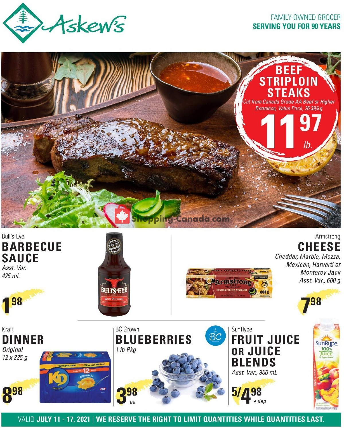 Flyer Askews Foods Canada - from Sunday July 11, 2021 to Saturday July 17, 2021