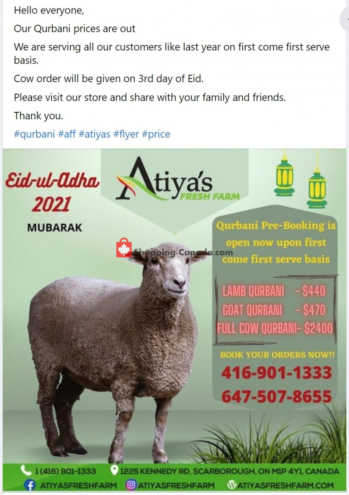 Flyer Atiya's Fresh Farm Canada - from Thursday July 15, 2021 to Wednesday July 21, 2021
