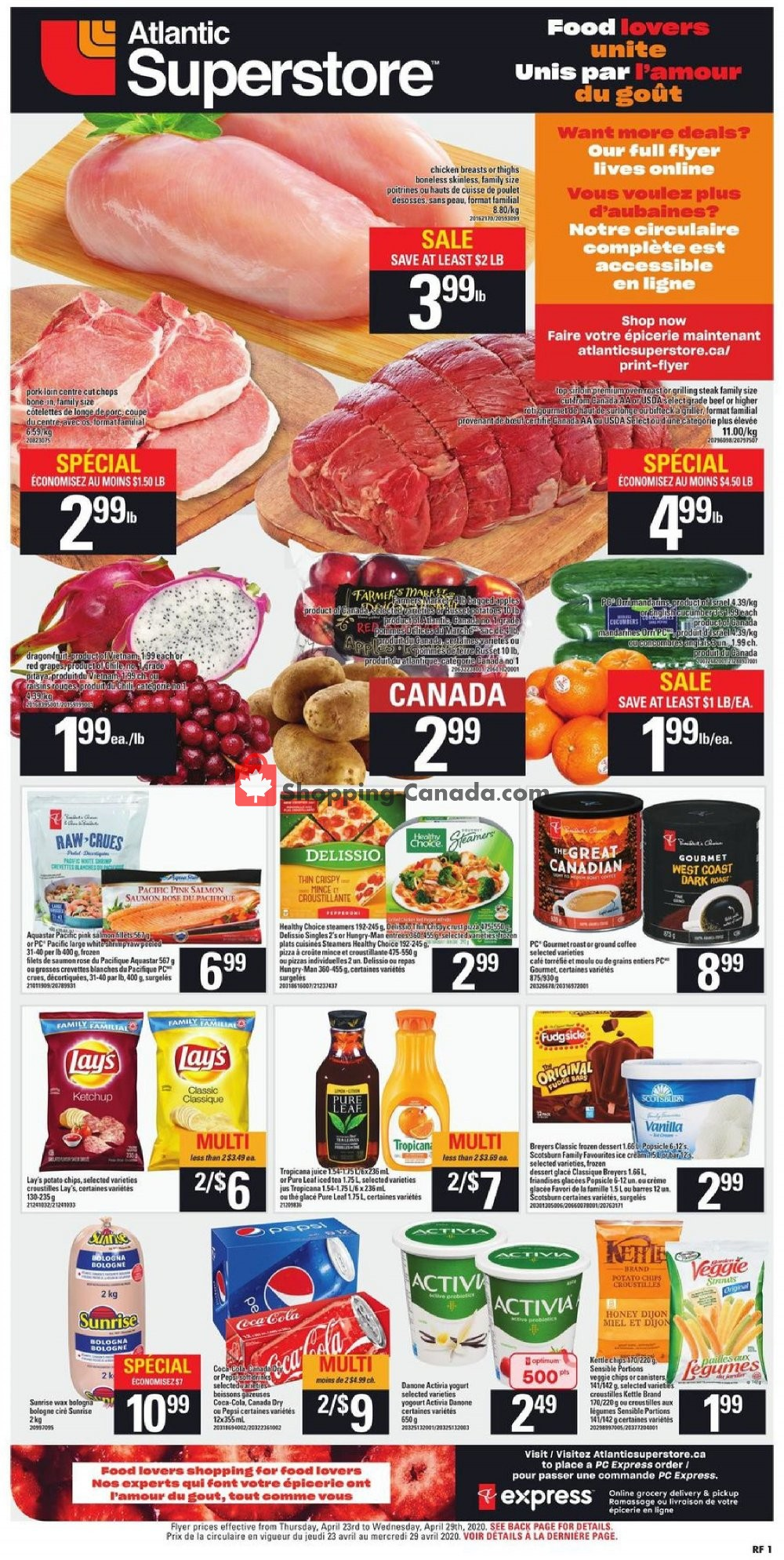 Flyer Atlantic Superstore Canada - from Thursday April 23, 2020 to Wednesday April 29, 2020
