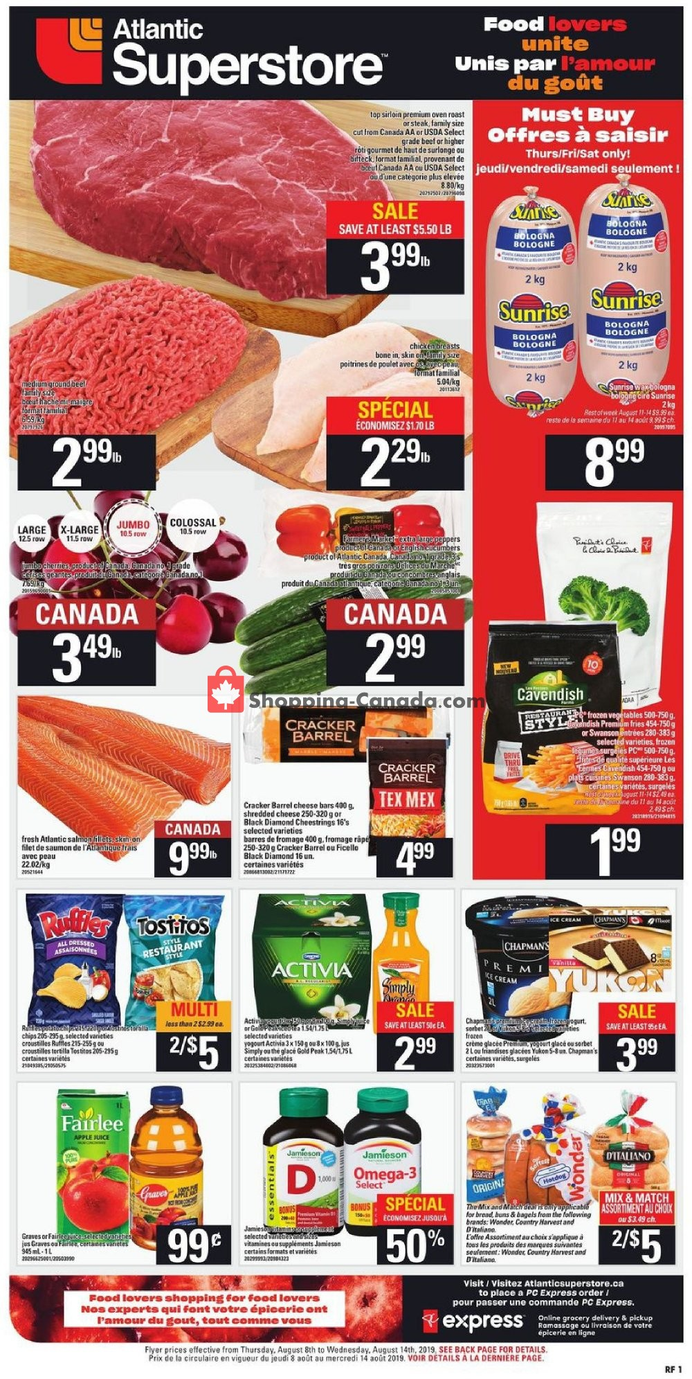 Flyer Atlantic Superstore Canada - from Thursday August 8, 2019 to Wednesday August 14, 2019