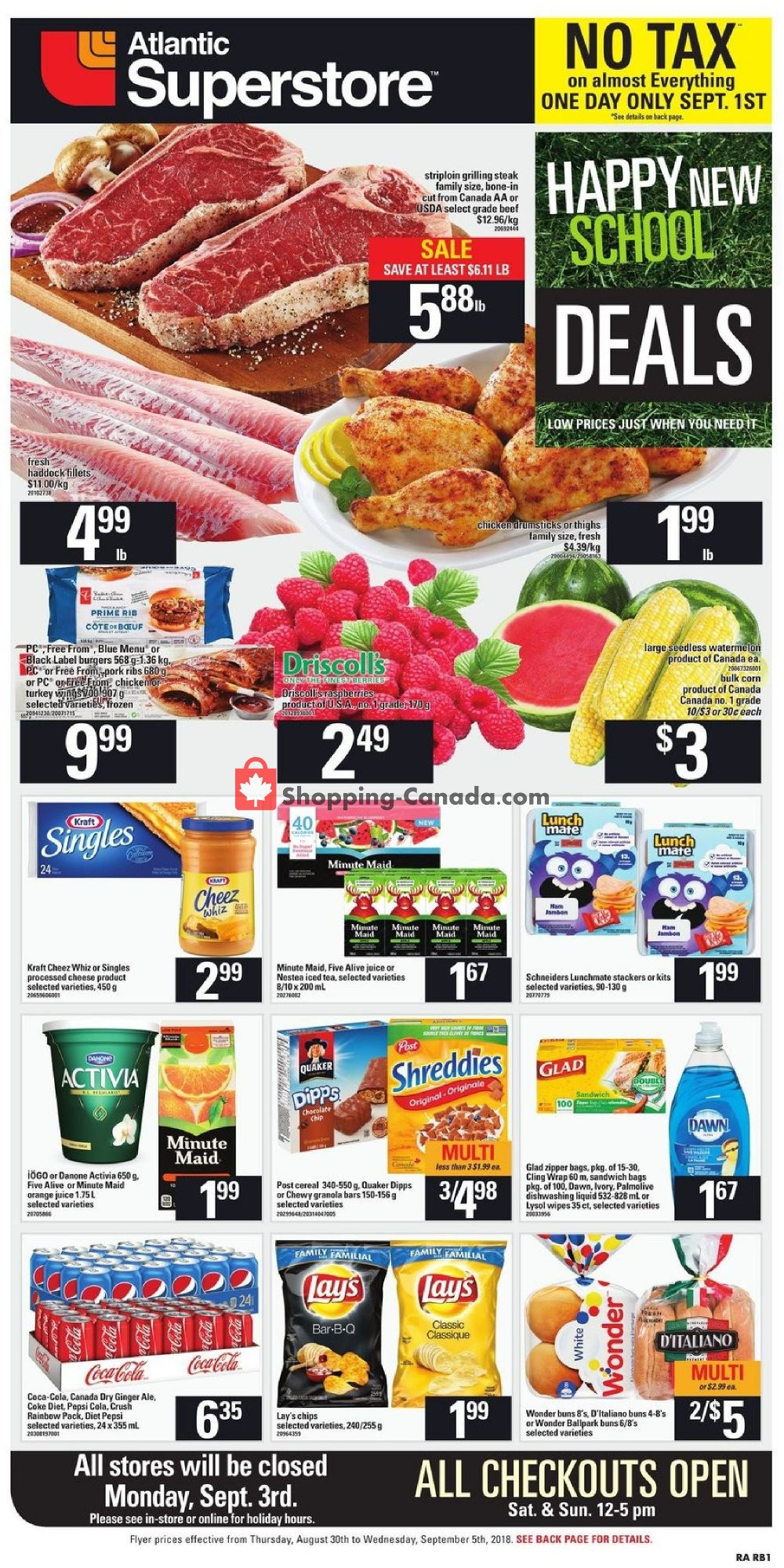 Flyer Atlantic Superstore Canada - from Thursday August 30, 2018 to Wednesday September 5, 2018
