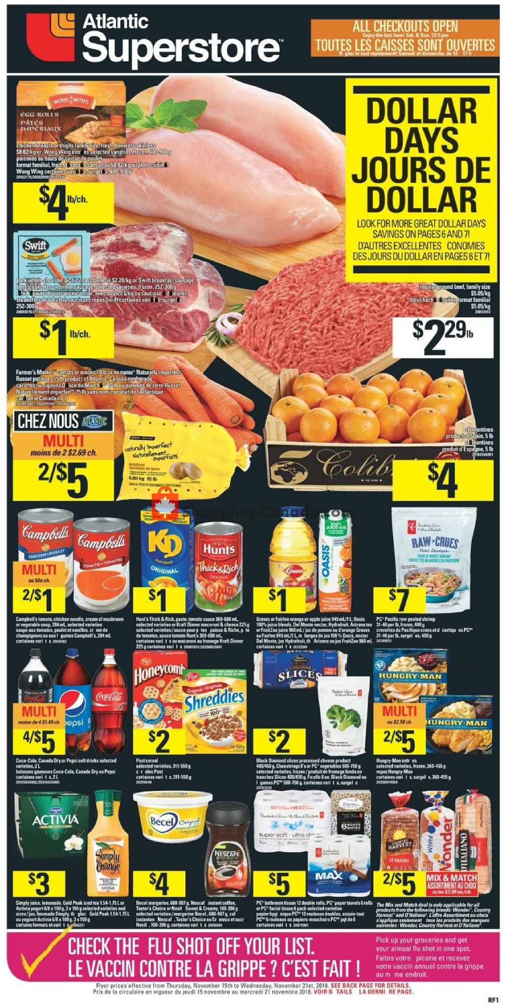 Flyer Atlantic Superstore Canada - from Thursday November 15, 2018 to Wednesday November 21, 2018