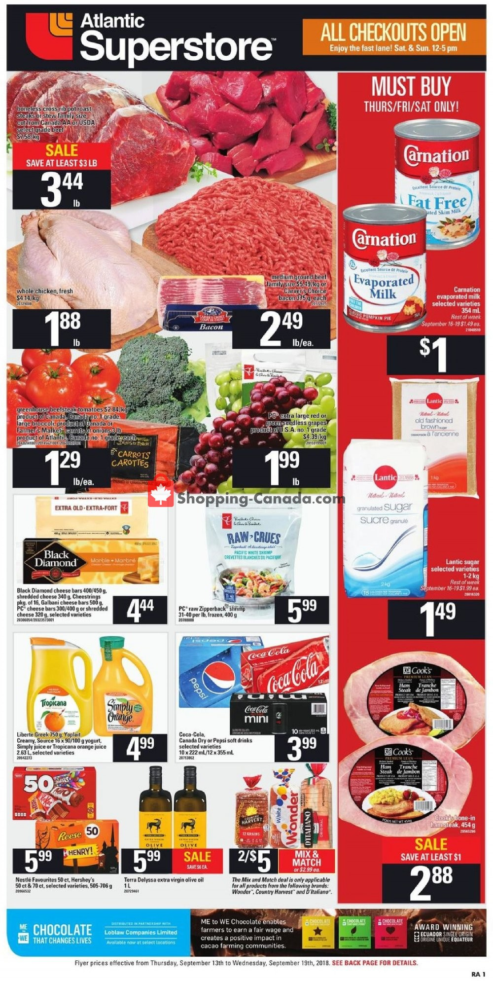 Flyer Atlantic Superstore Canada - from Thursday September 13, 2018 to Wednesday September 19, 2018