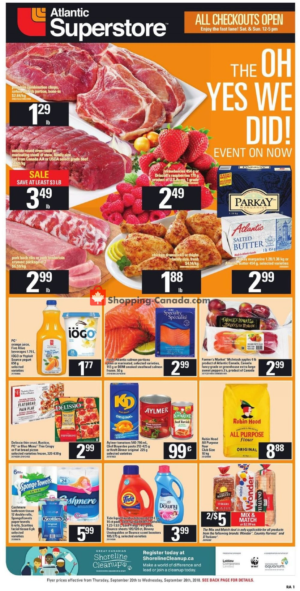 Flyer Atlantic Superstore Canada - from Thursday September 20, 2018 to Wednesday September 26, 2018