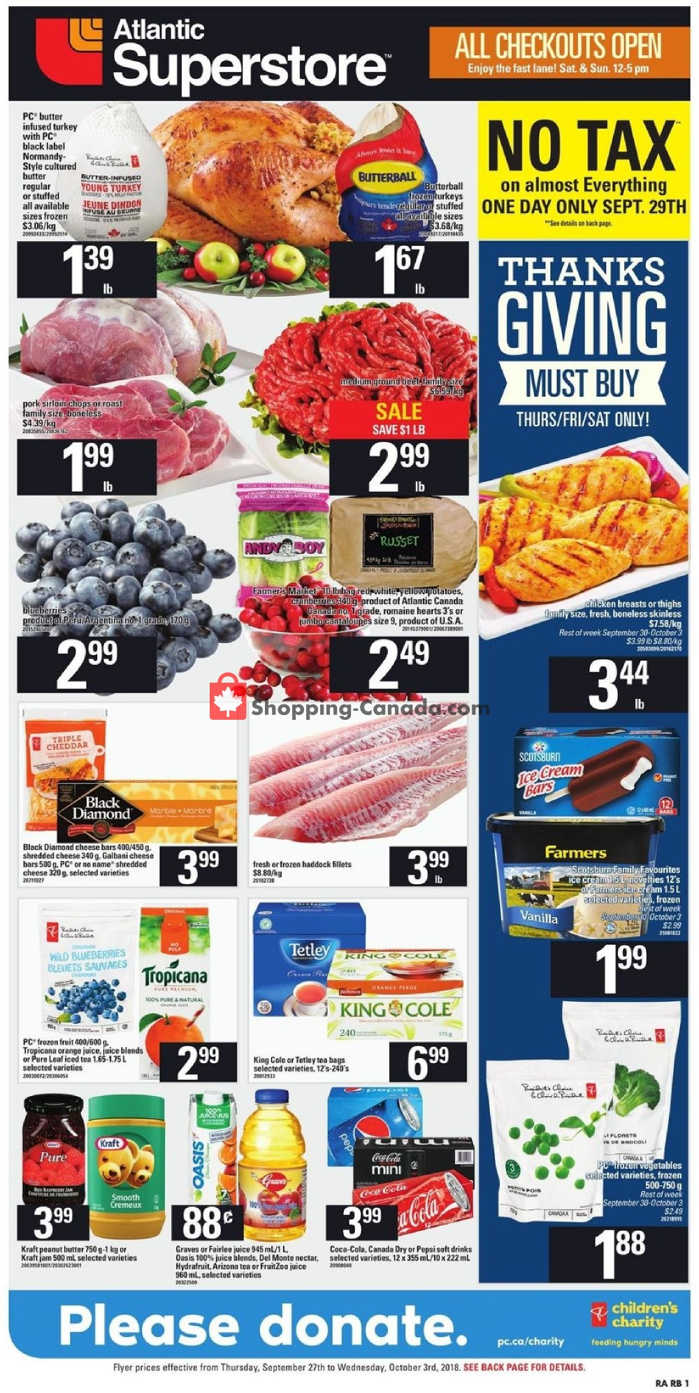 Flyer Atlantic Superstore Canada - from Thursday September 27, 2018 to Wednesday October 3, 2018