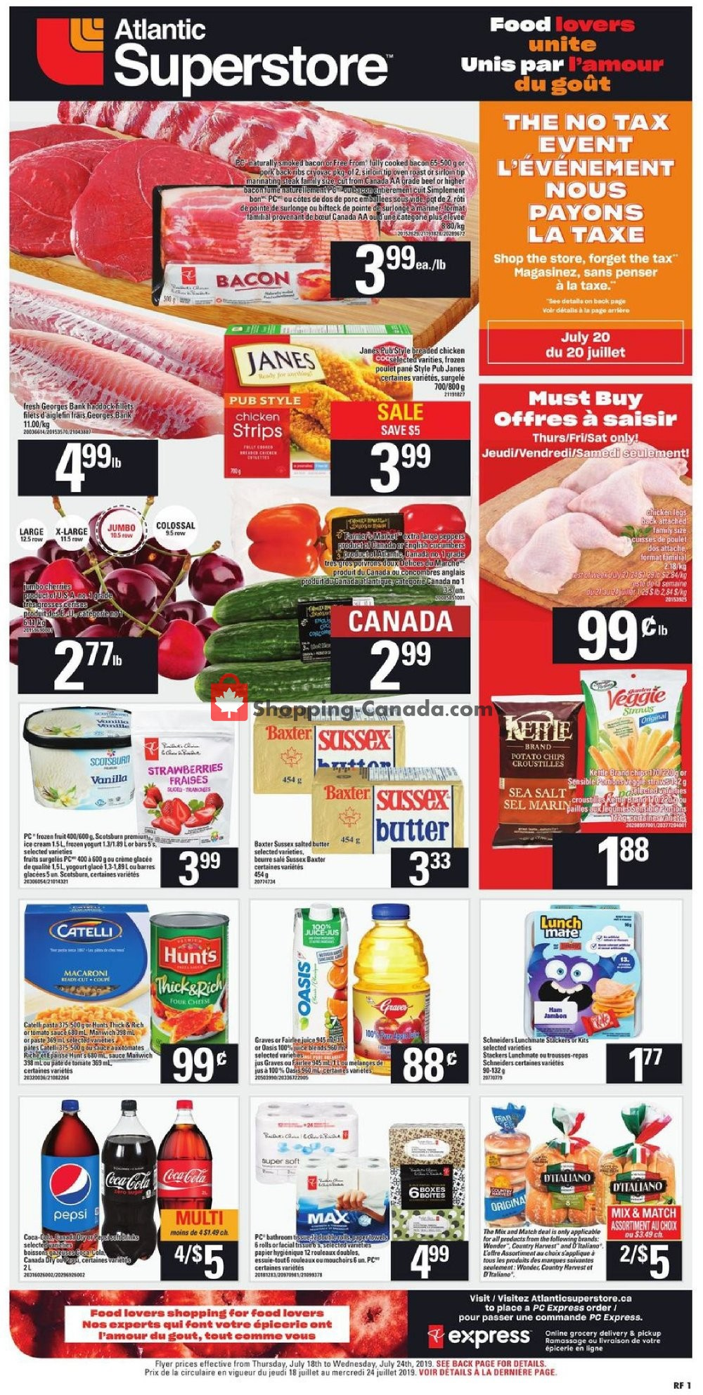 Flyer Atlantic Superstore Canada - from Thursday July 18, 2019 to Wednesday July 24, 2019