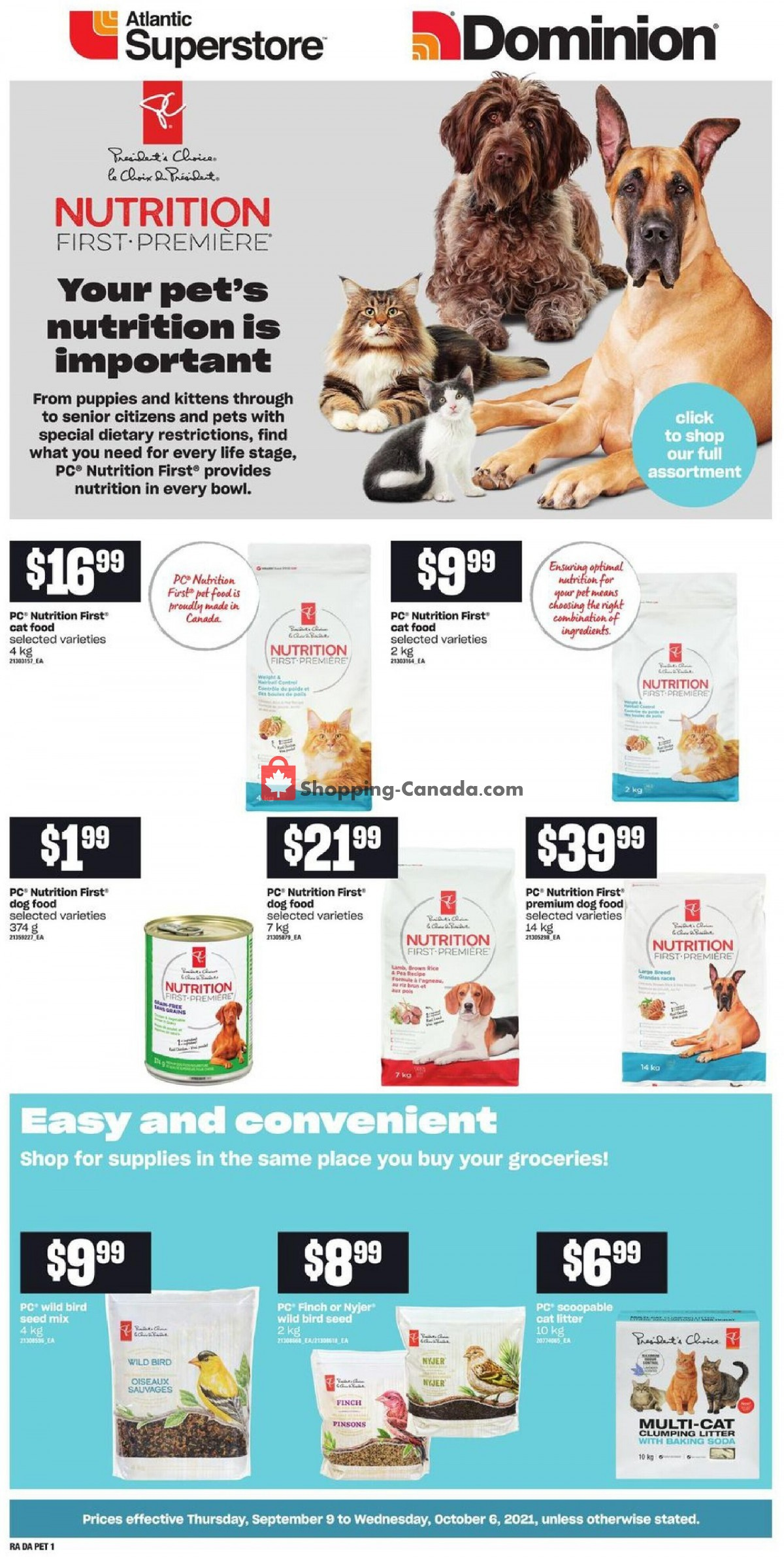 Flyer Atlantic Superstore Canada - from Thursday September 9, 2021 to Wednesday October 6, 2021