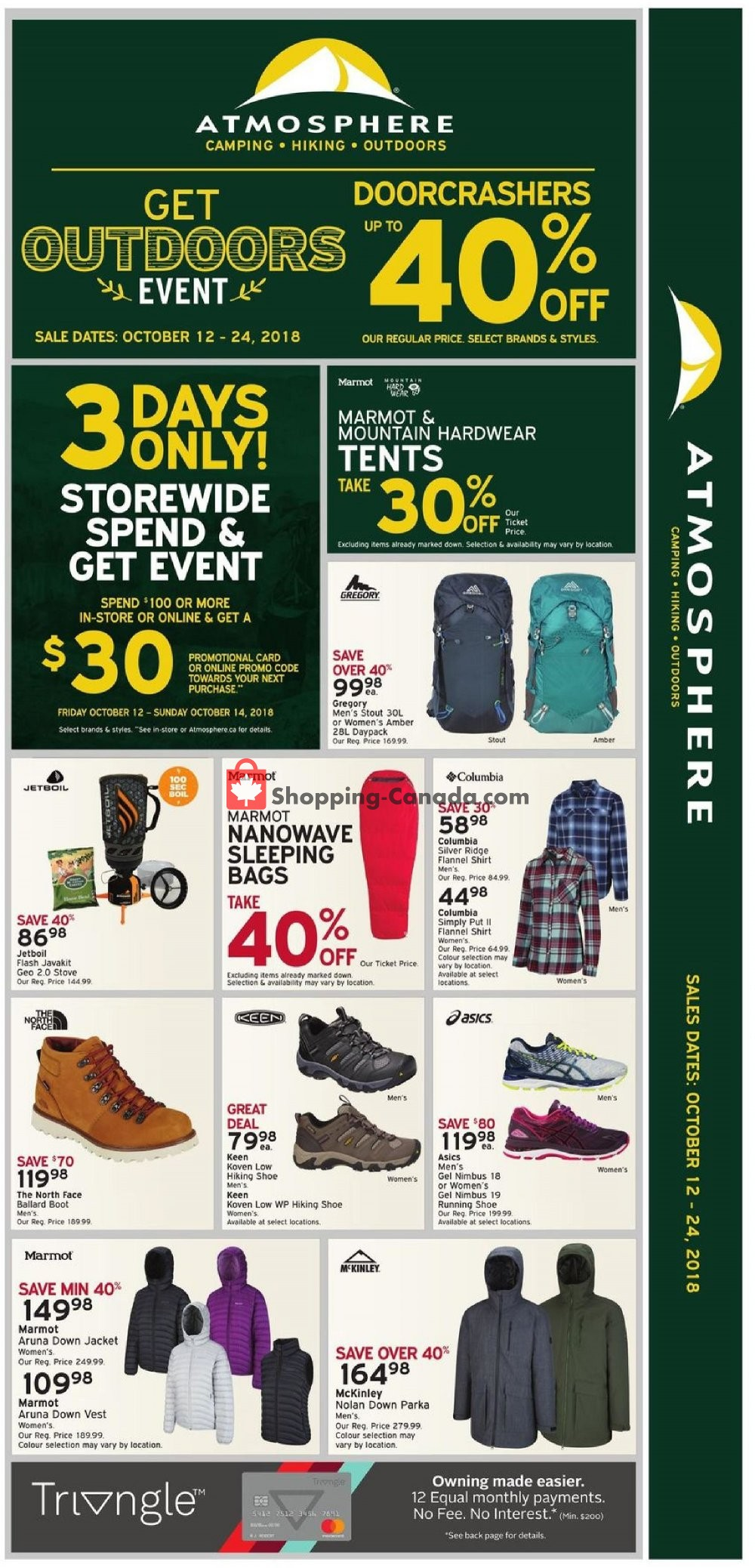 Flyer Atmosphere Canada - from Friday October 12, 2018 to Wednesday October 24, 2018