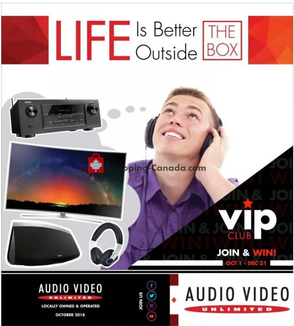 Flyer Audio Video Unlimited Canada - from Monday October 1, 2018 to Monday December 31, 2018