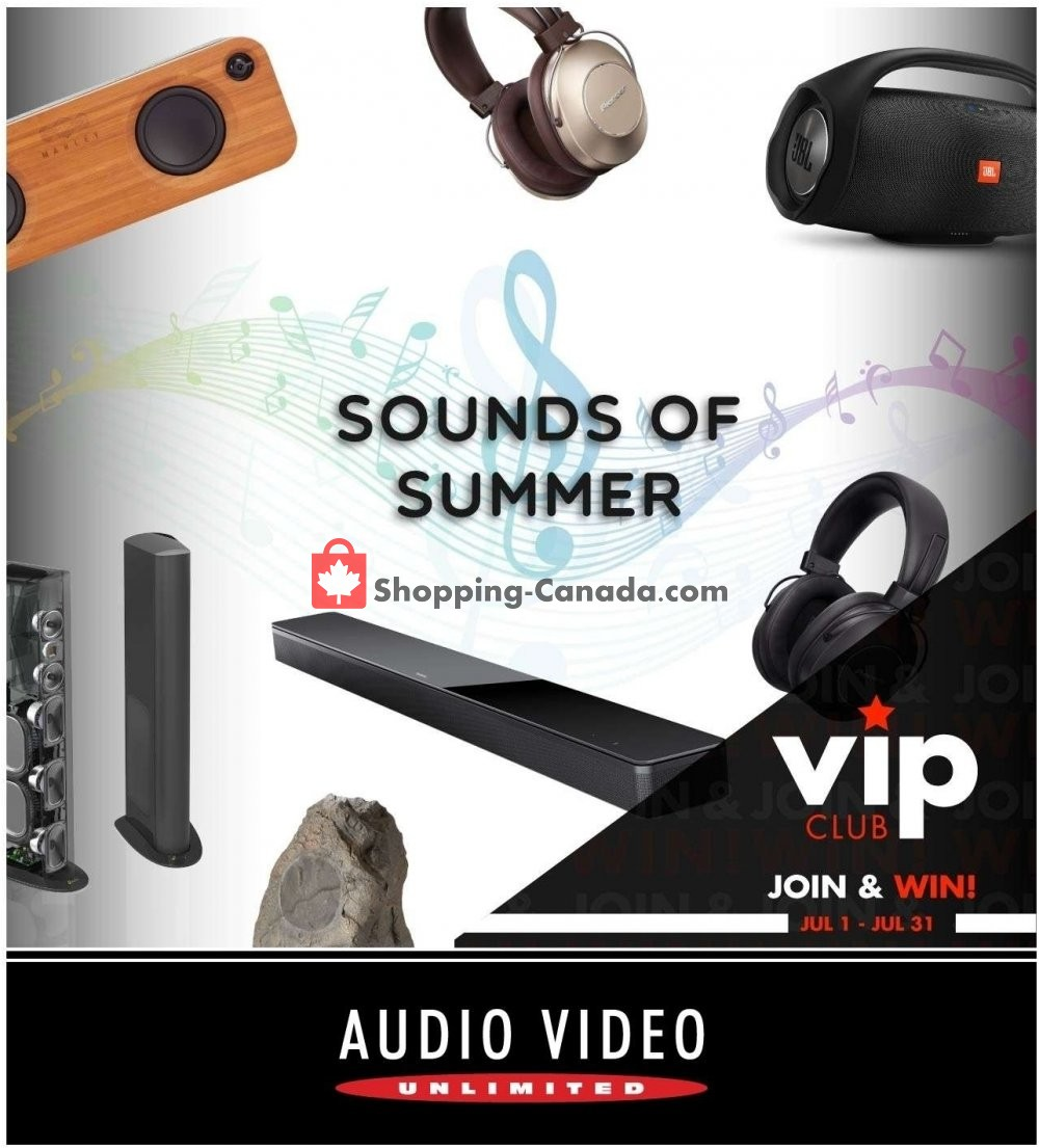Flyer Audio Video Unlimited Canada - from Monday July 1, 2019 to Wednesday July 31, 2019