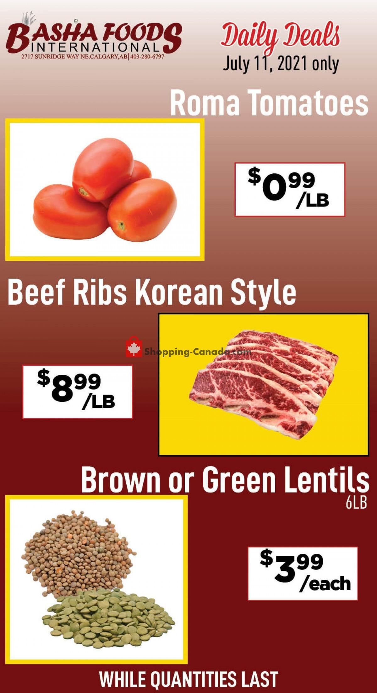 Flyer Basha Foods International Canada - from Sunday July 11, 2021 to Sunday July 11, 2021