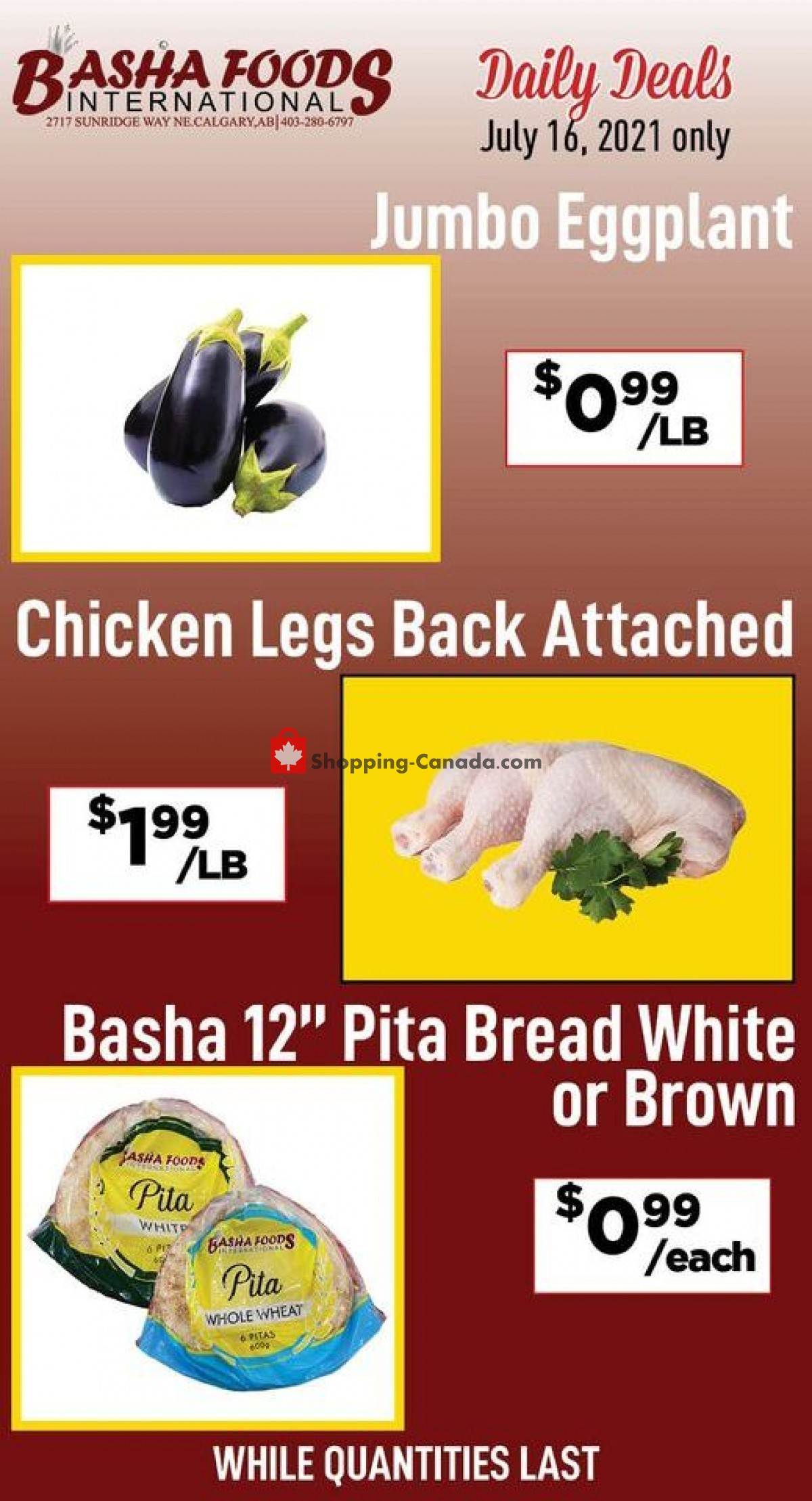 Flyer Basha Foods International Canada - from Friday July 16, 2021 to Friday July 16, 2021