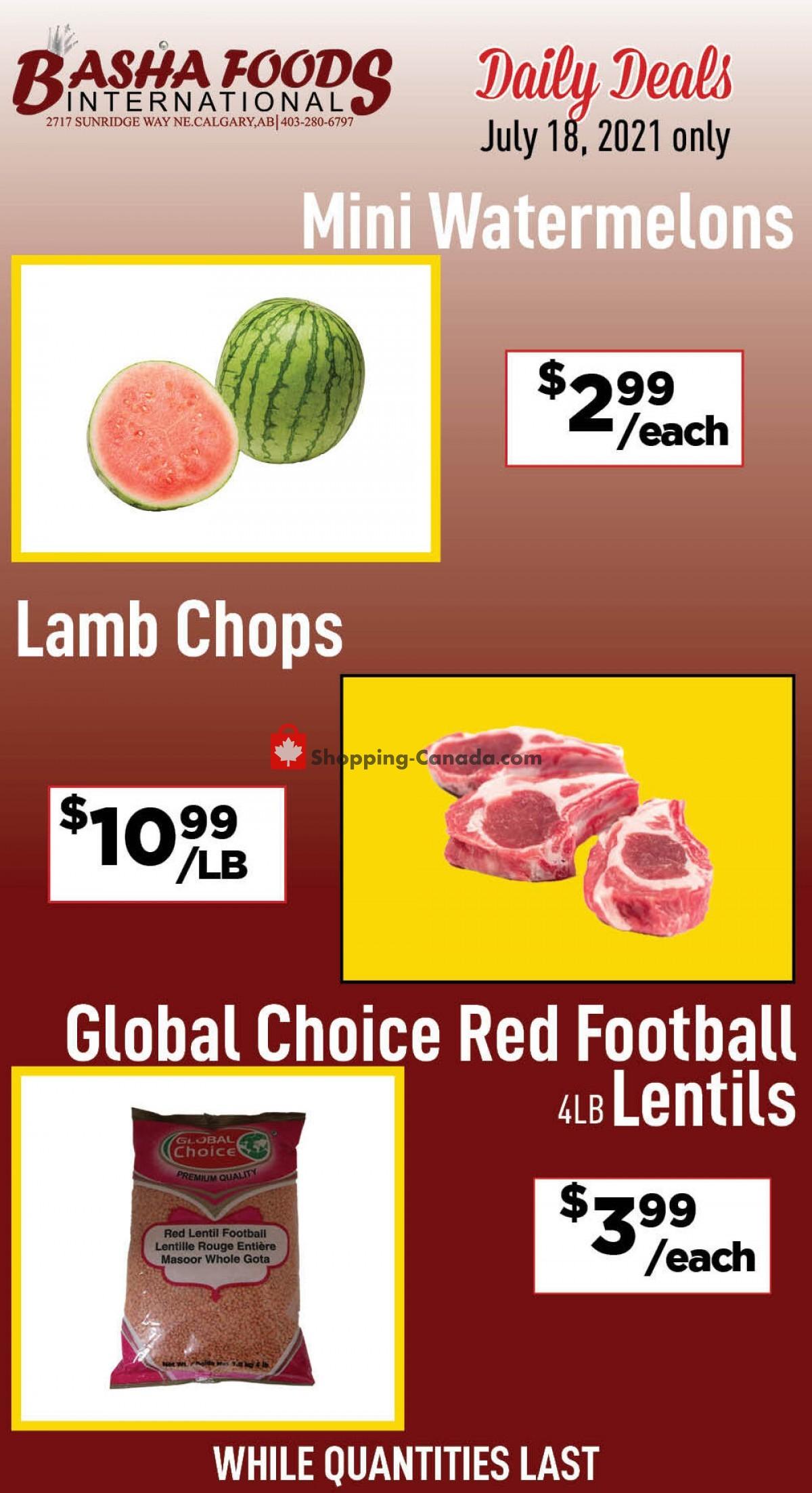 Flyer Basha Foods International Canada - from Sunday July 18, 2021 to Sunday July 18, 2021