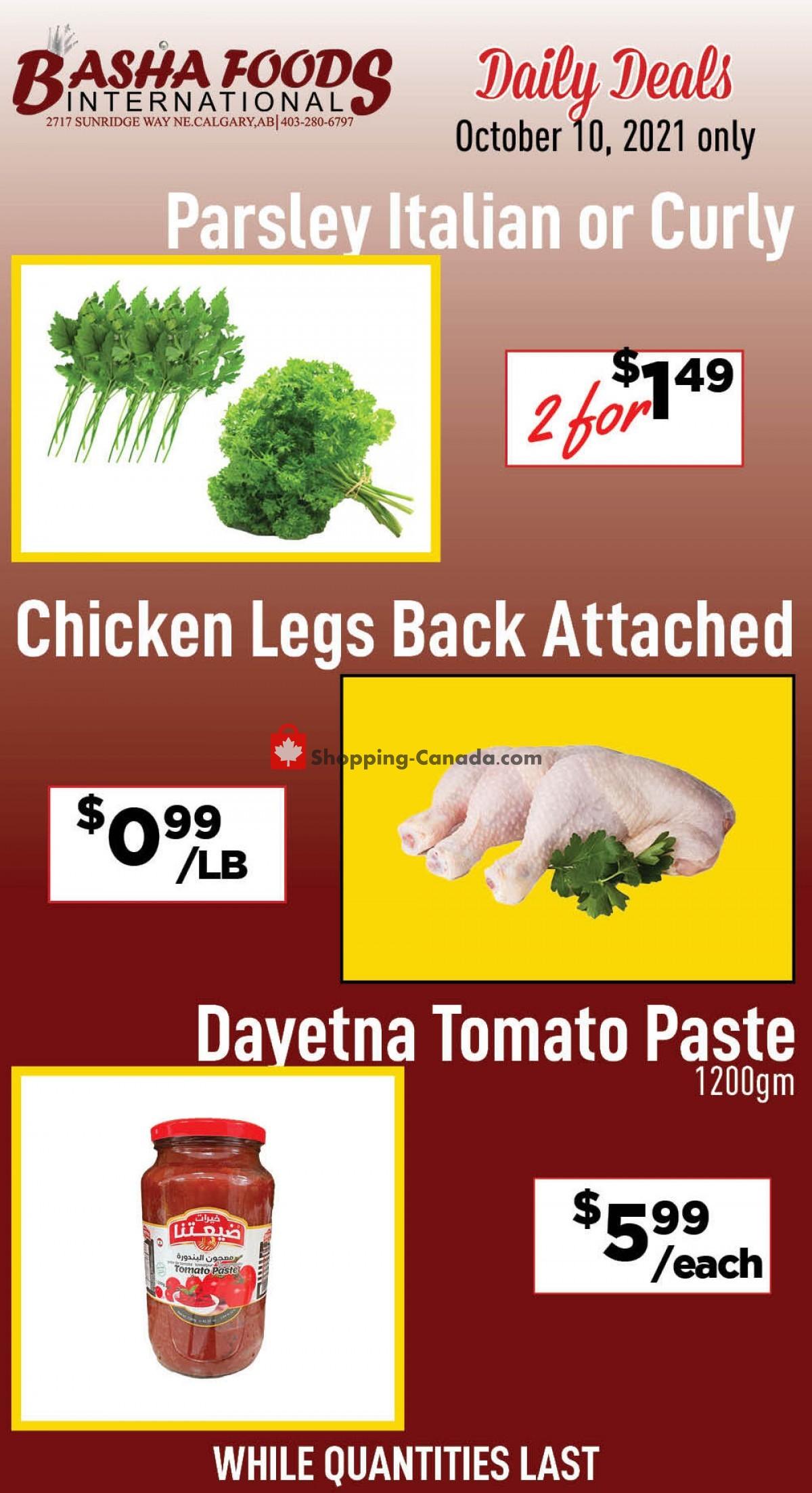 Flyer Basha Foods International Canada - from Sunday October 10, 2021 to Sunday October 10, 2021