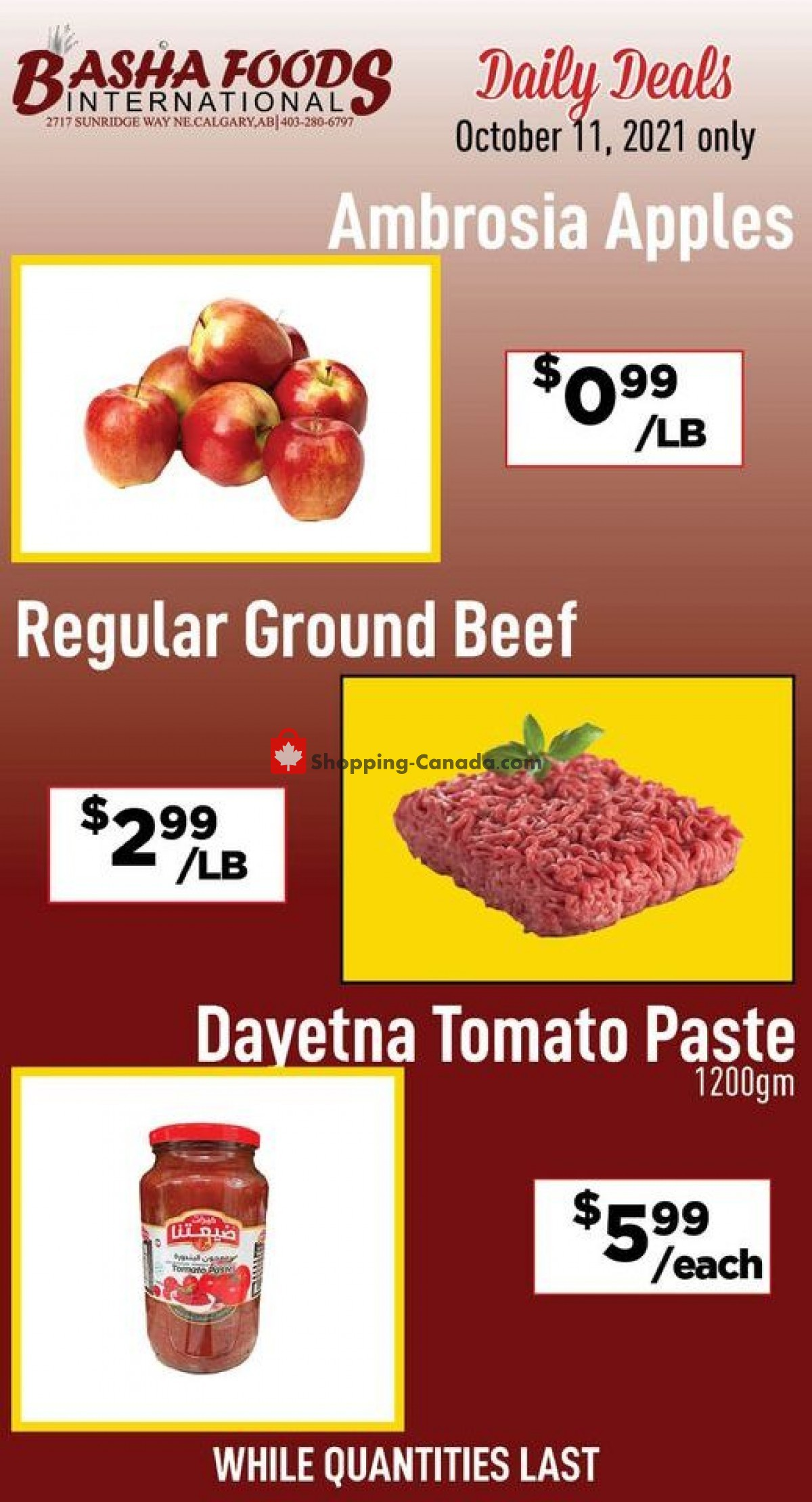 Flyer Basha Foods International Canada - from Monday October 11, 2021 to Monday October 11, 2021