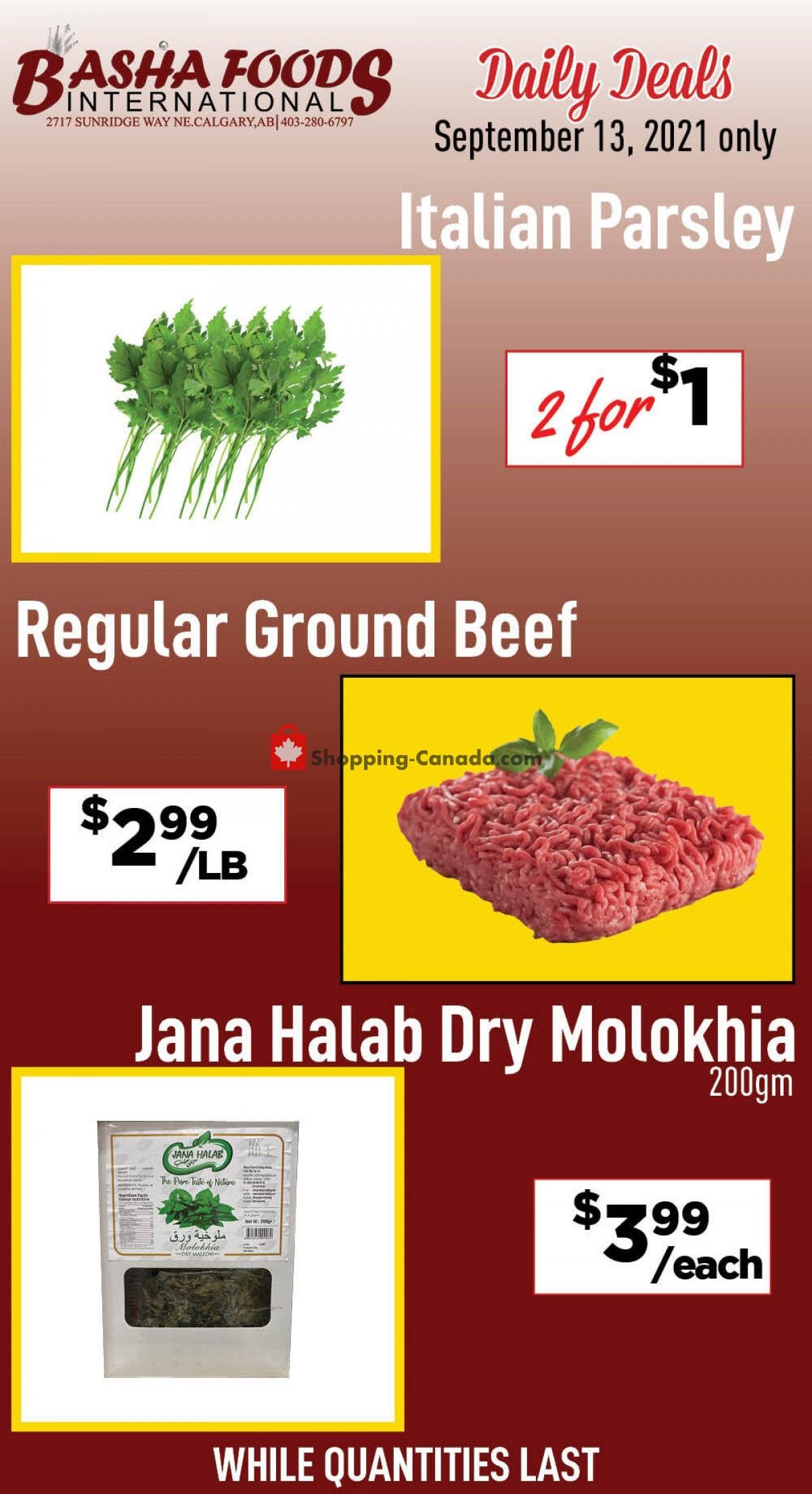 Flyer Basha Foods International Canada - from Monday September 13, 2021 to Monday September 13, 2021