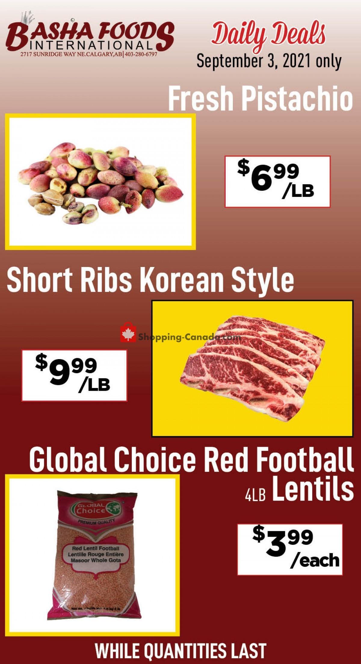 Flyer Basha Foods International Canada - from Friday September 3, 2021 to Friday September 3, 2021