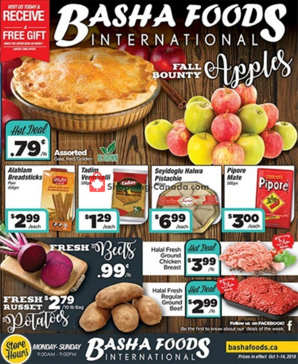 Flyer Basha Foods International Canada - from Monday October 1, 2018 to Sunday October 14, 2018