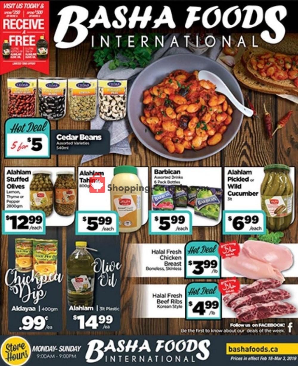 Flyer Basha Foods International Canada - from Monday February 18, 2019 to Sunday March 3, 2019