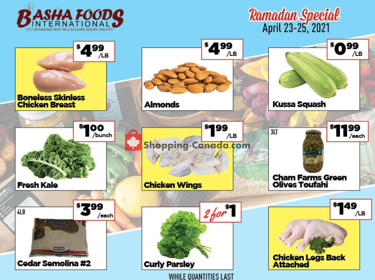 Flyer Basha Foods International Canada - from Friday April 23, 2021 to Sunday April 25, 2021