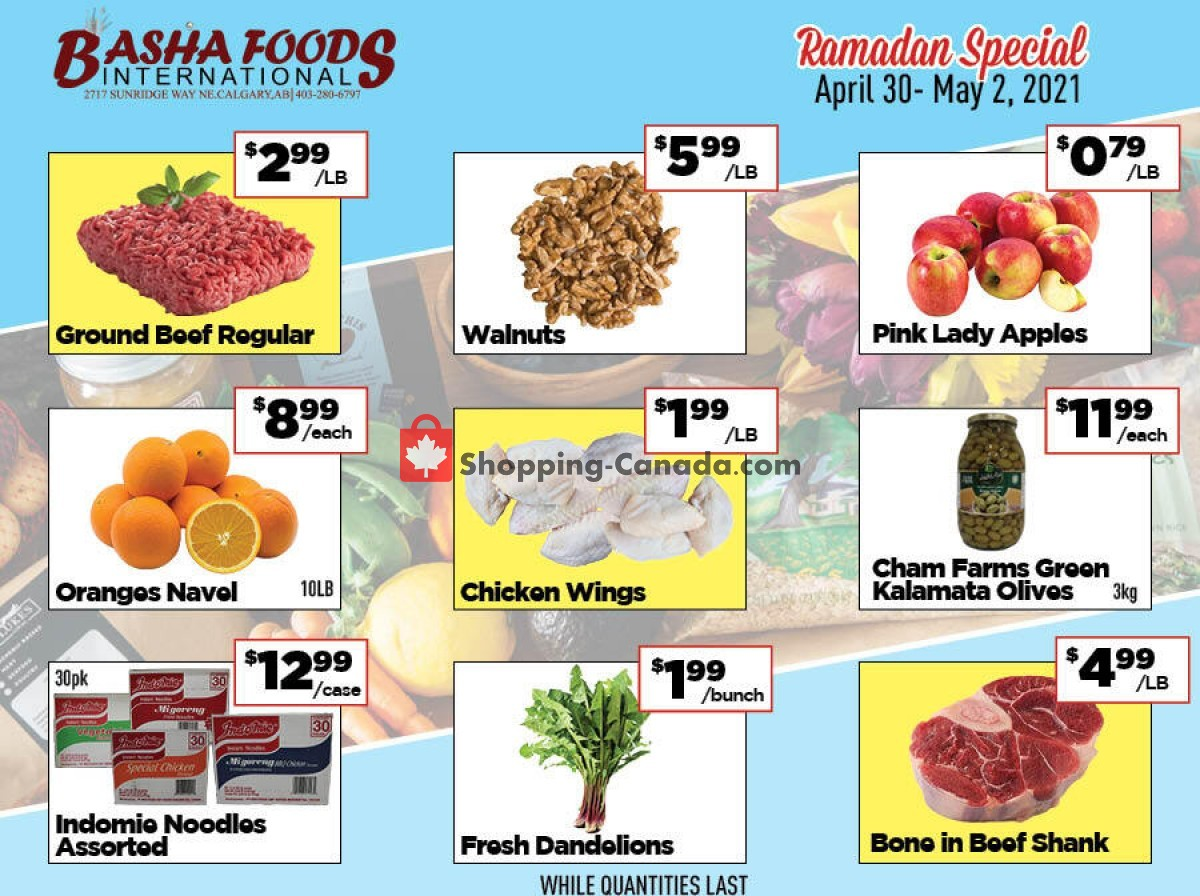 Flyer Basha Foods International Canada - from Friday April 30, 2021 to Sunday May 2, 2021
