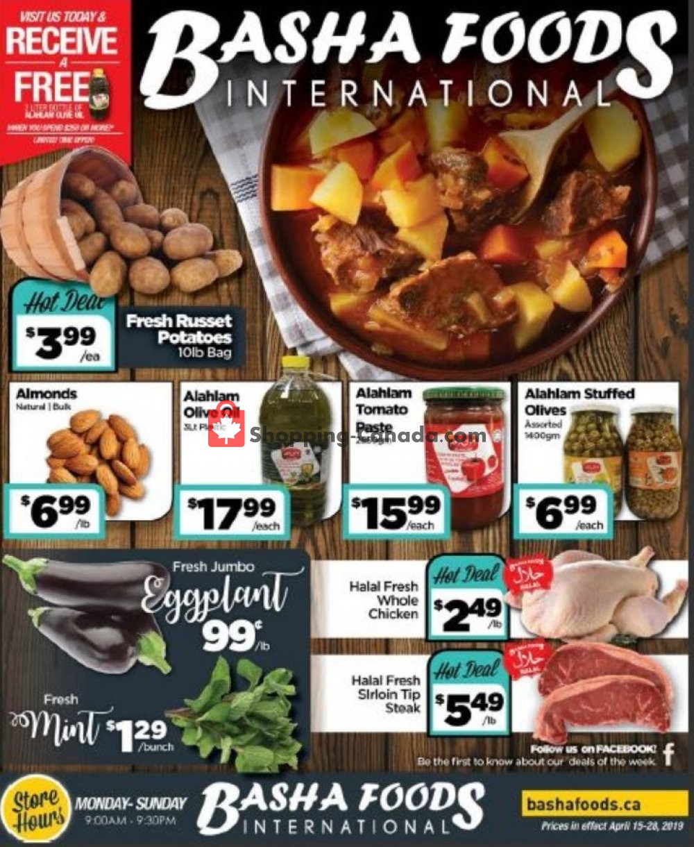 Flyer Basha Foods International Canada - from Monday April 15, 2019 to Tuesday April 30, 2019