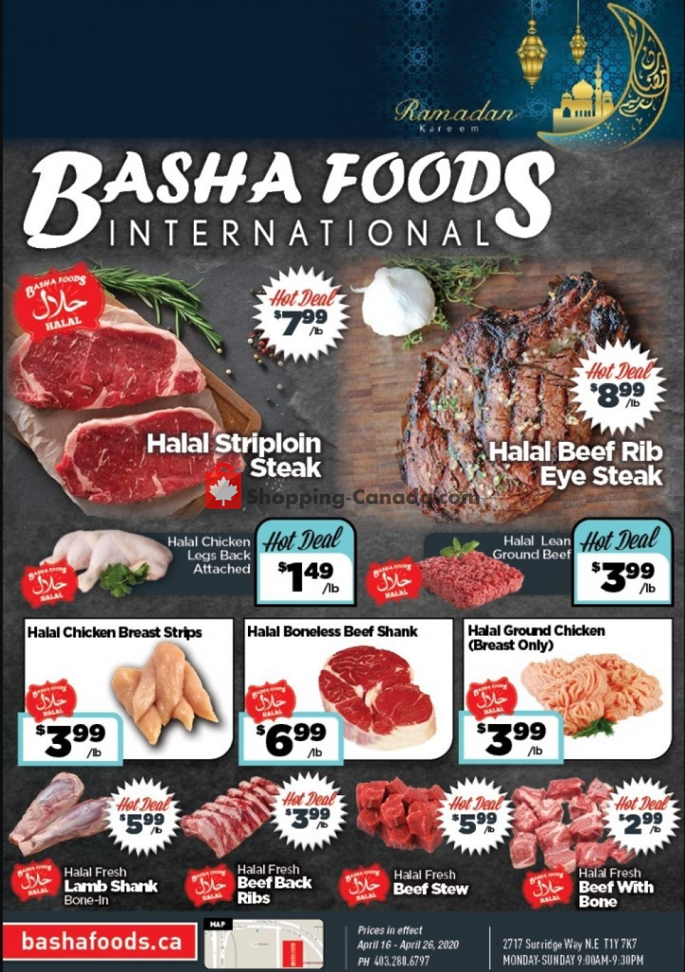 Flyer Basha Foods International Canada - from Thursday April 16, 2020 to Sunday April 26, 2020
