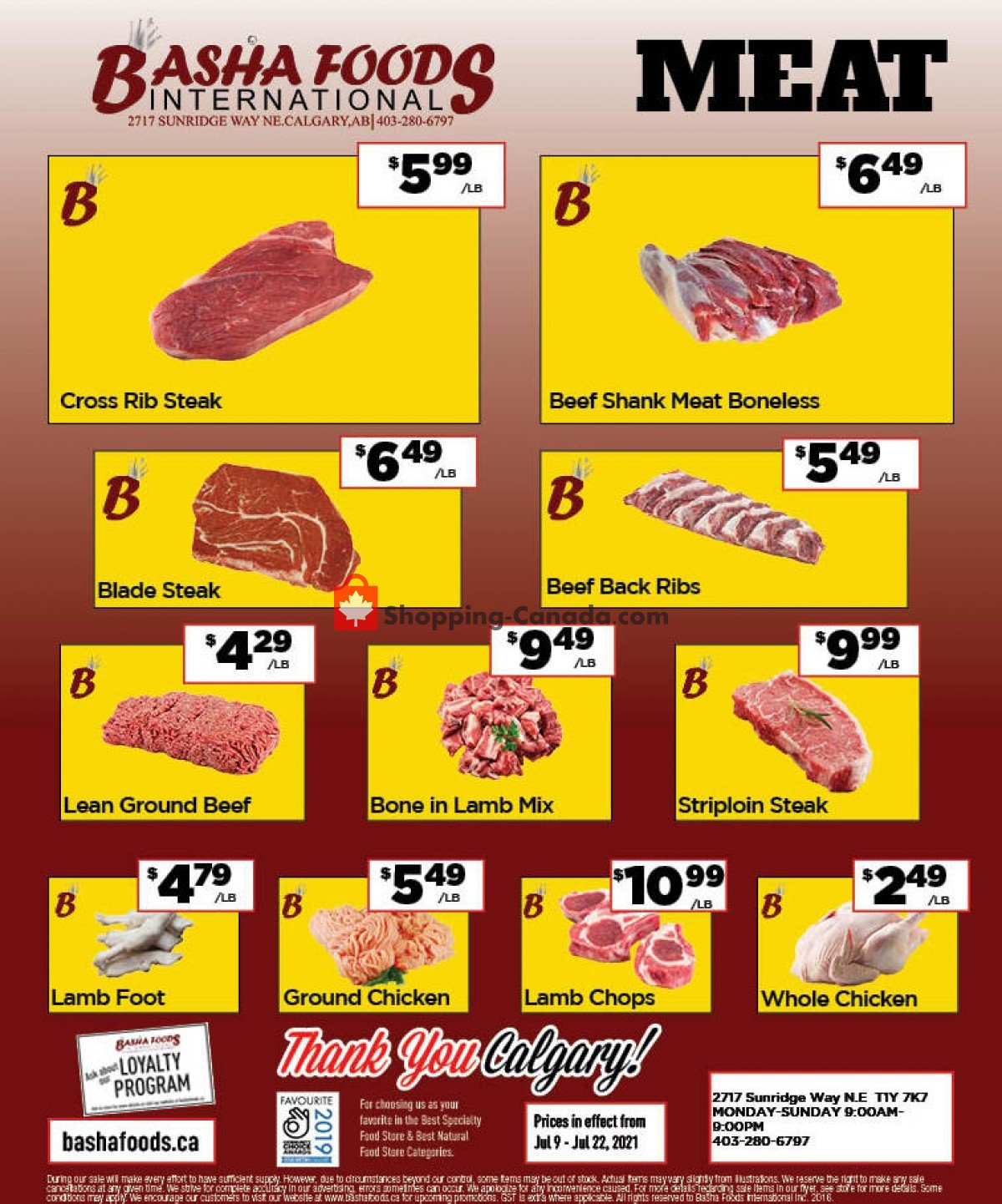 Flyer Basha Foods International Canada - from Friday July 9, 2021 to Thursday July 22, 2021