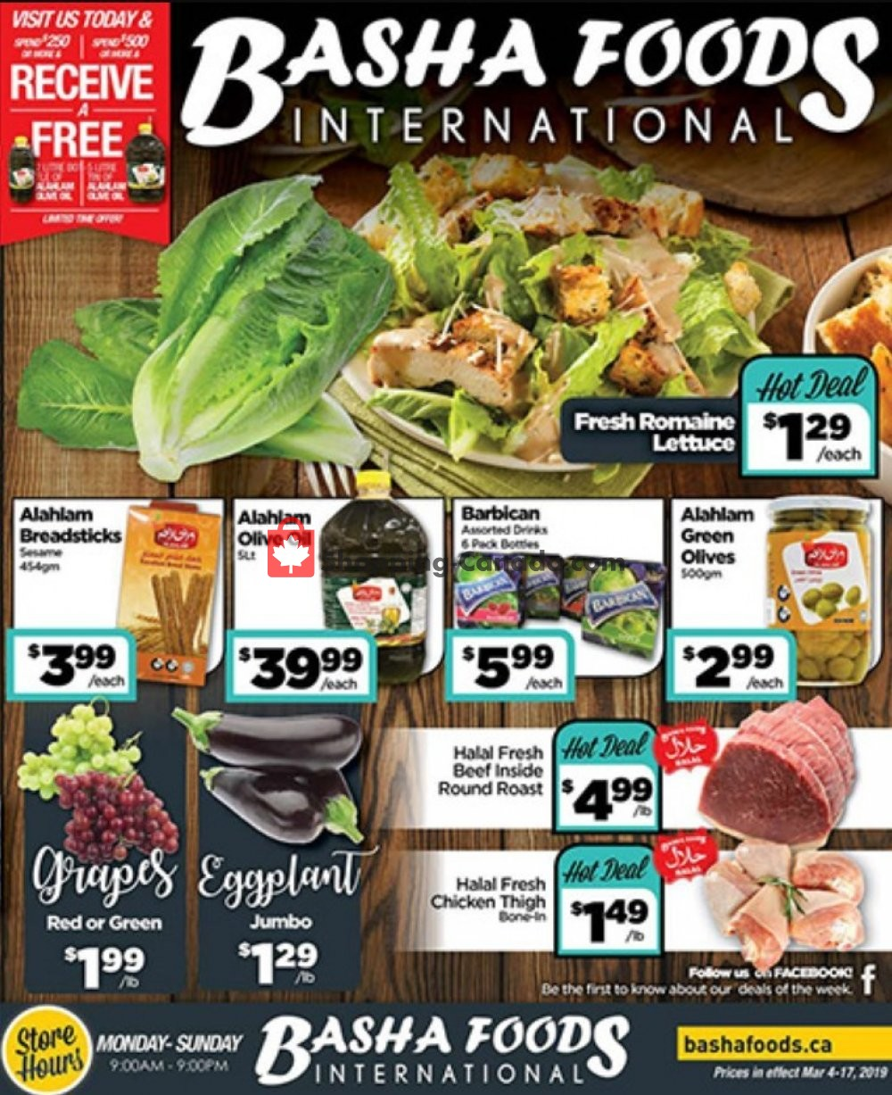 Flyer Basha Foods International Canada - from Monday March 4, 2019 to Sunday March 17, 2019