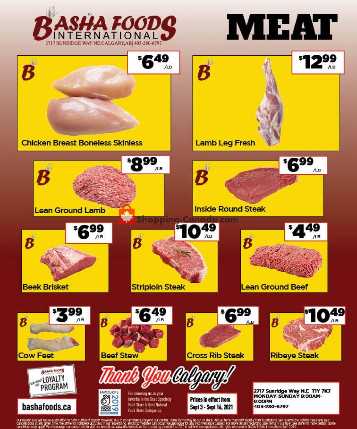 Flyer Basha Foods International Canada - from Friday September 3, 2021 to Tuesday September 14, 2021