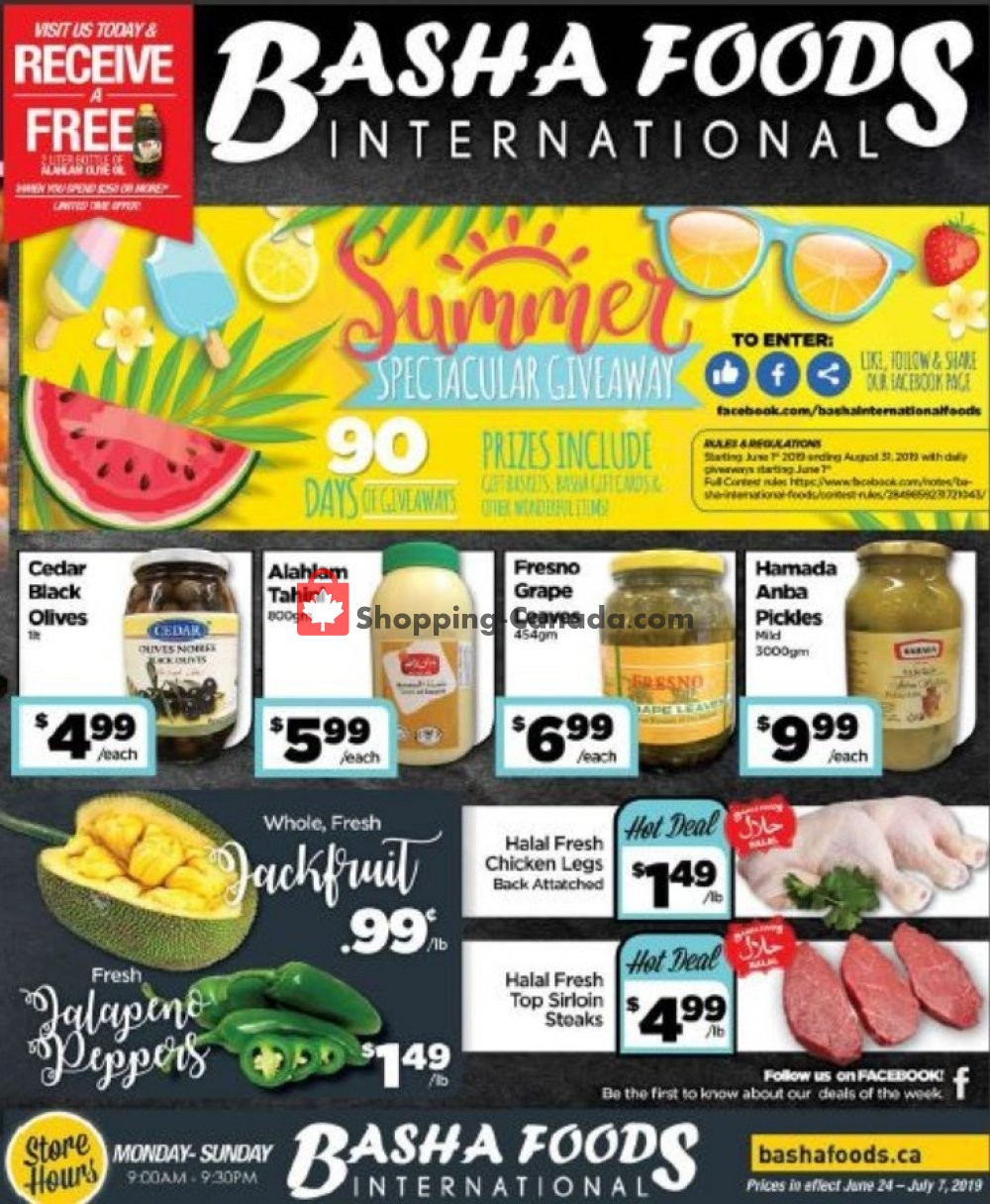 Flyer Basha Foods International Canada - from Monday June 24, 2019 to Sunday July 7, 2019