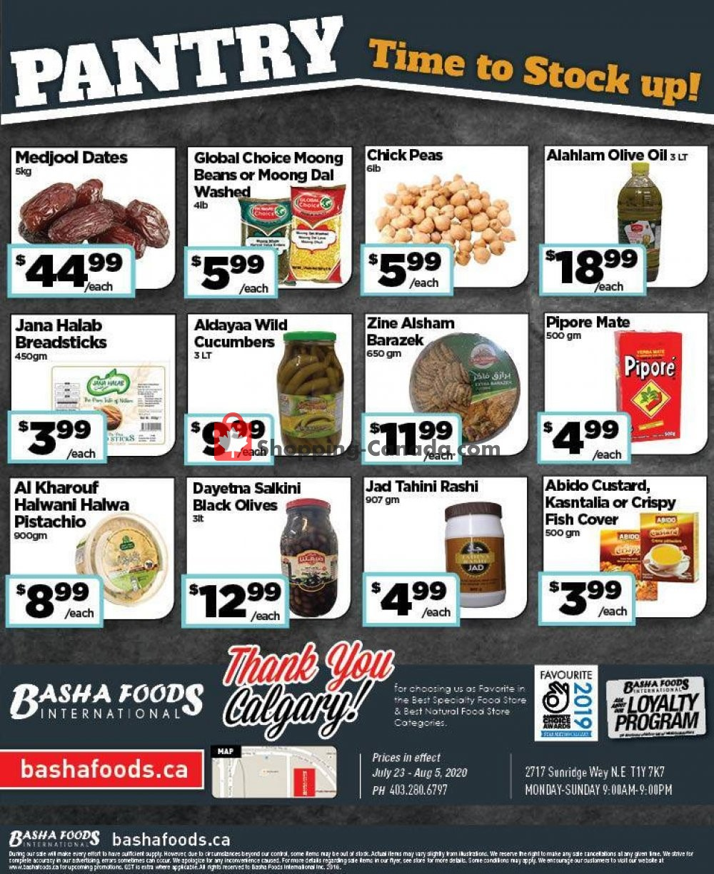 Flyer Basha Foods International Canada - from Thursday July 23, 2020 to Wednesday August 5, 2020