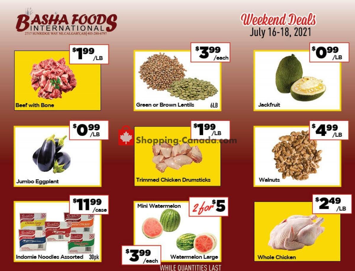 Flyer Basha Foods International Canada - from Friday July 16, 2021 to Sunday July 18, 2021