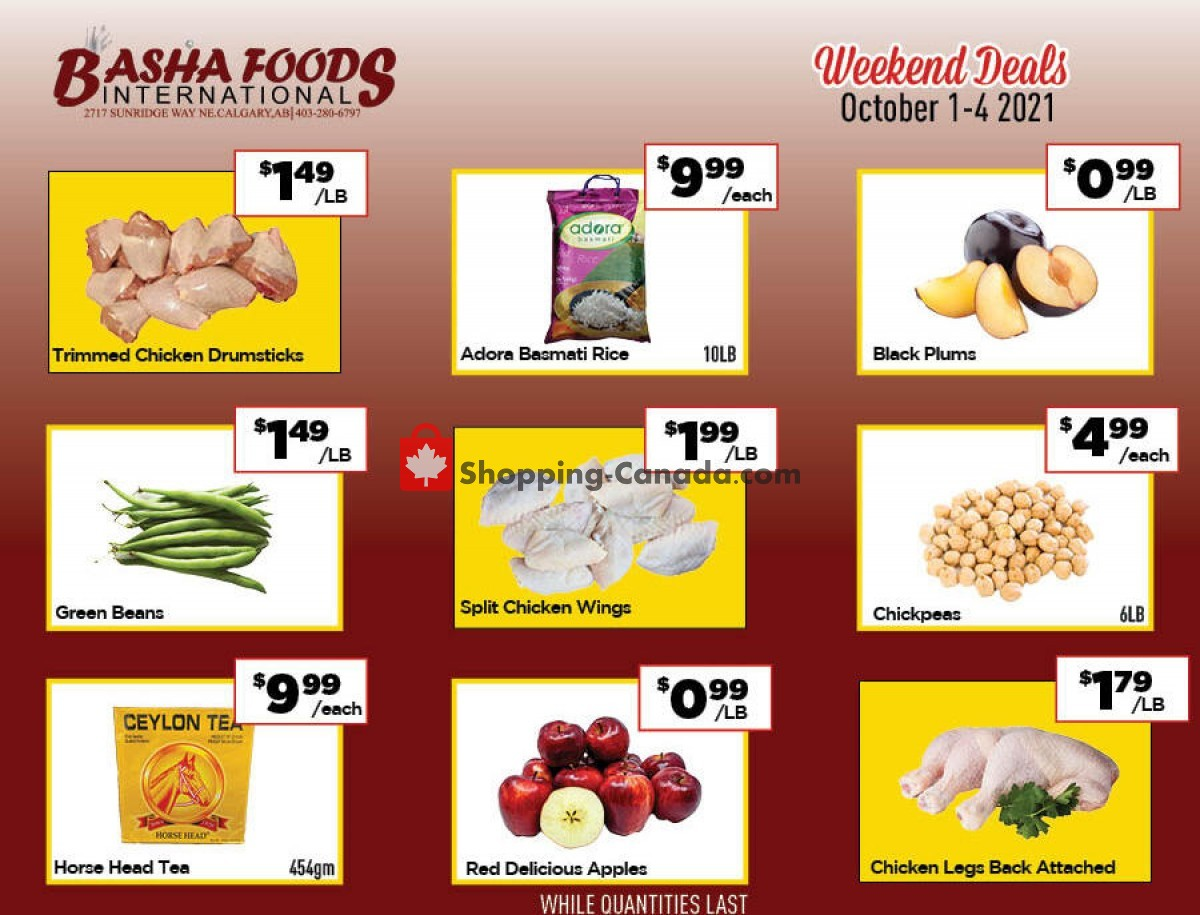 Flyer Basha Foods International Canada - from Friday October 1, 2021 to Monday October 4, 2021