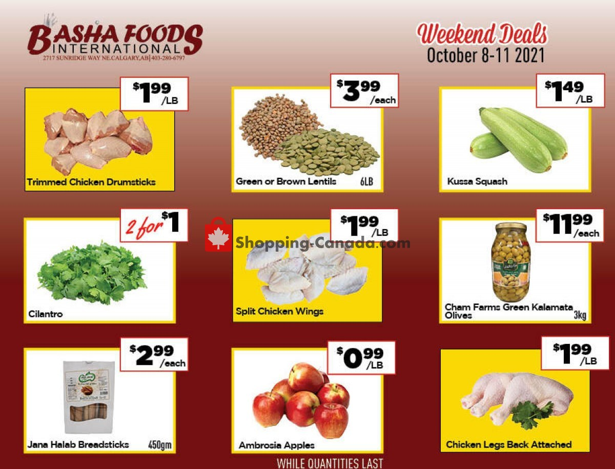 Flyer Basha Foods International Canada - from Friday October 8, 2021 to Monday October 11, 2021