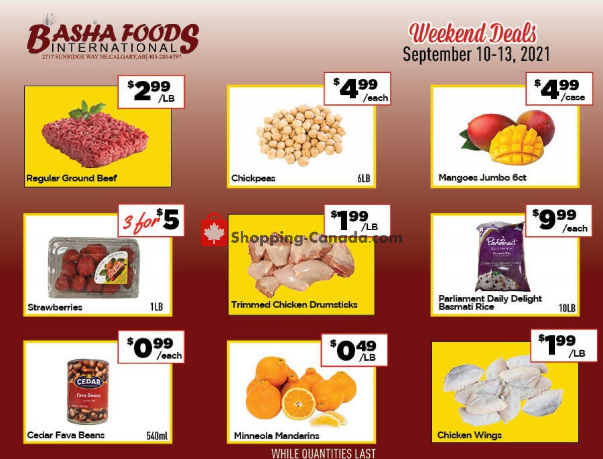 Flyer Basha Foods International Canada - from Friday September 10, 2021 to Monday September 13, 2021