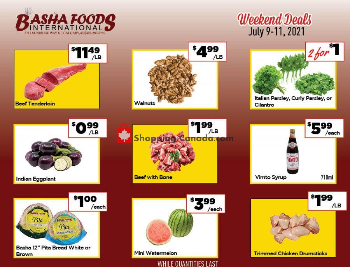 Flyer Basha Foods International Canada - from Friday July 9, 2021 to Sunday July 11, 2021