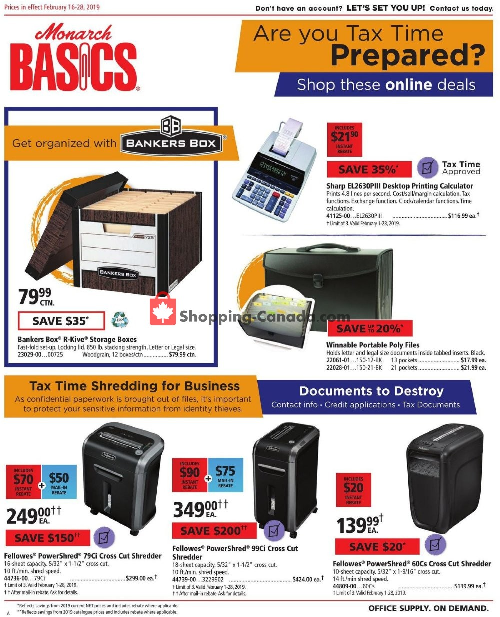 Flyer Basics Office Products Canada - from Saturday February 16, 2019 to Thursday February 28, 2019
