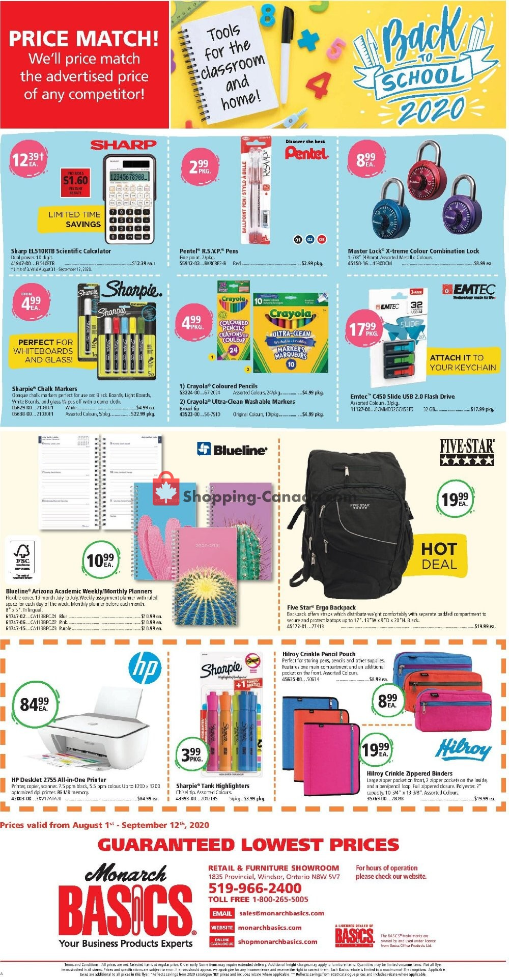 Flyer Basics Office Products Canada - from Saturday August 1, 2020 to Saturday September 12, 2020