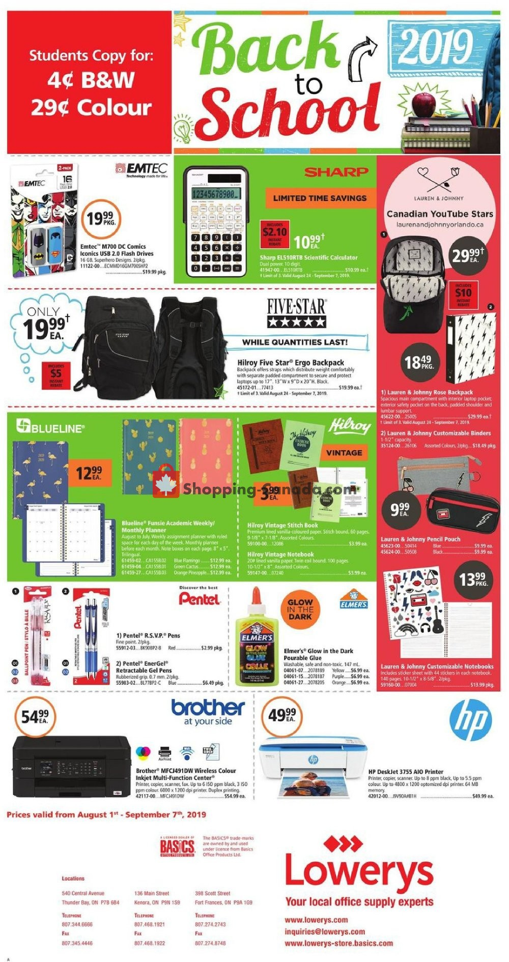 Flyer Basics Office Products Canada - from Thursday August 1, 2019 to Saturday September 7, 2019
