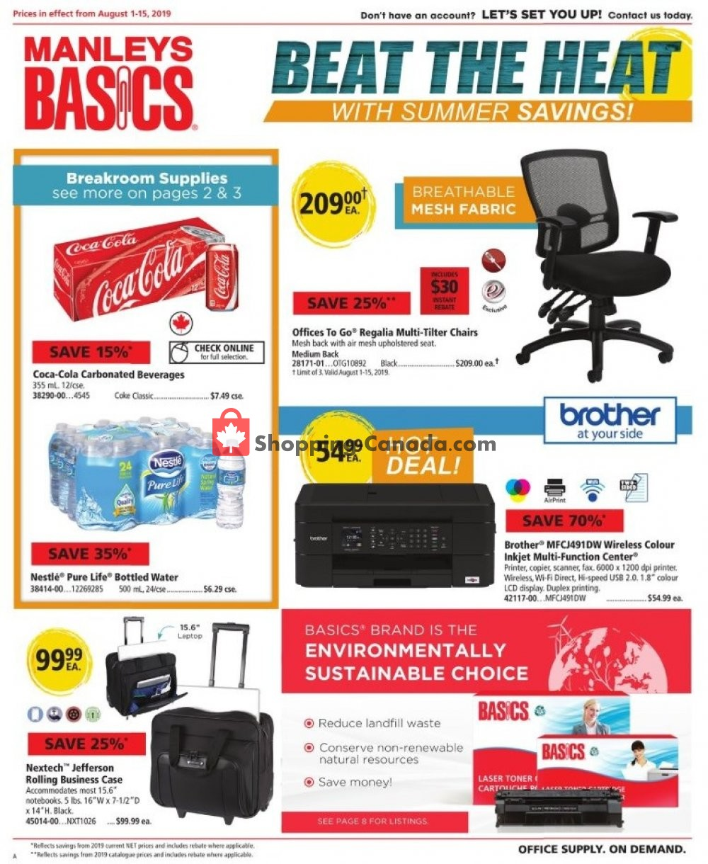 Flyer Basics Office Products Canada - from Thursday August 1, 2019 to Thursday August 15, 2019