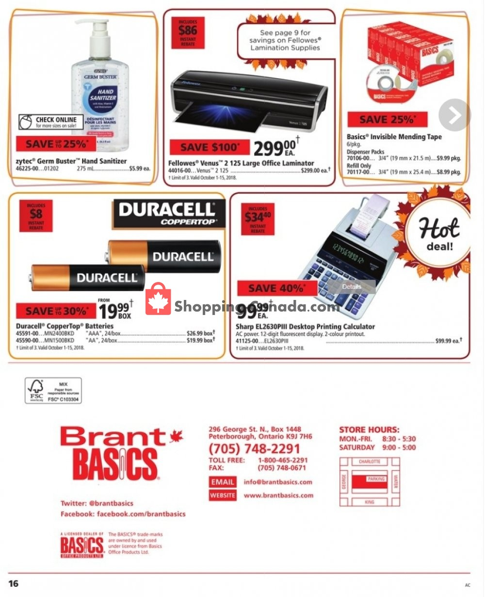 c8c0ead2ce8 Flyer and weekly ads: Basics Office Products Canada - Brant Basics ...