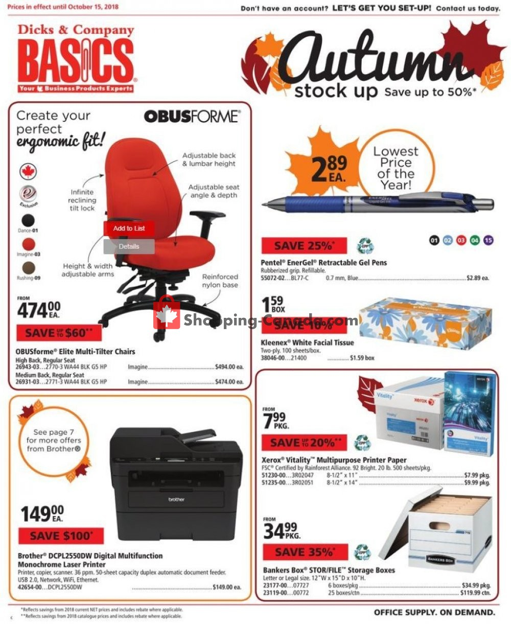 Flyer Basics Office Products Canada - from Monday October 1, 2018 to Monday October 15, 2018