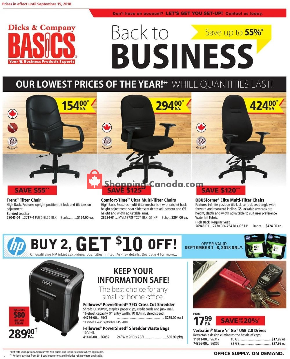 Flyer Basics Office Products Canada - from Saturday September 1, 2018 to Saturday September 15, 2018
