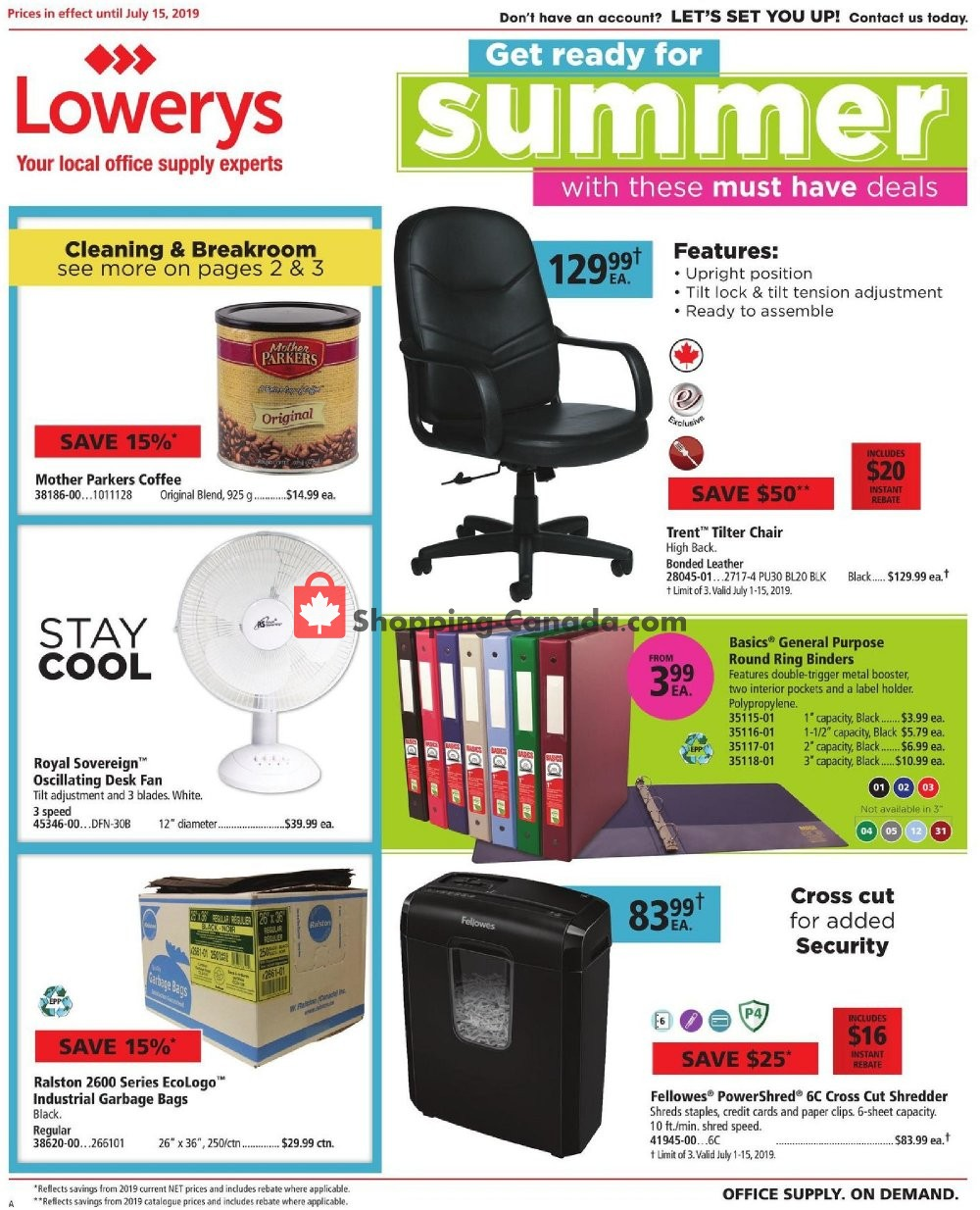 Flyer Basics Office Products Canada - from Monday July 1, 2019 to Monday July 15, 2019